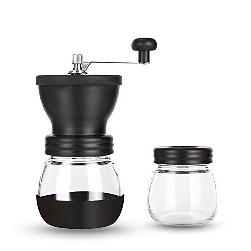 Manual Coffee Grinder with Adjustable Setting and Ceramic Burrs Hand Coffee Mill Travel Gadgets Hand Grinder with Two Glass Jars for Camping Hiking