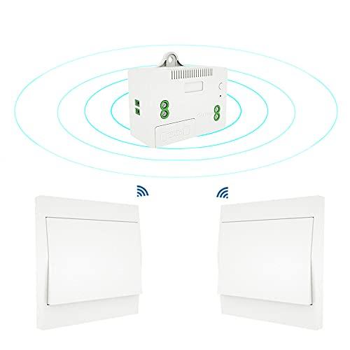 skrskr Interruptor de luz inalámbrico de 110-230V y Kit de Receptor Interruptor autoalimentado Accesorio de iluminación de Control Remoto