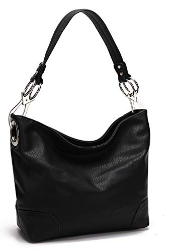 MKF Hobo Purses for Women – Soft PU Leather Handbag Slouchy Womens Hobo Shoulder bag – Fashion Top Handle Pocketbook Black