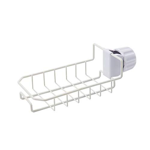 Gymy De acero inoxidable grifo bastidores de lavavajillas paño fregadero estante de almacenamiento libre perforación fregadero de cocina esponja escurridor, color blanco