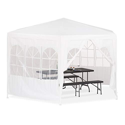Relaxdays Pavillon 6-eckig mit Seitenwänden, Partyzelt, edel, wasserabweisend, stabil, PE-Plane, 2x2x2x2,5 m, weiß
