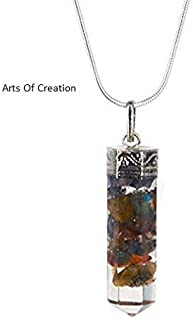 Arts Of Creation Hex Bullet Chakra Pendant with 7 Types of Bionized Crystals for Each Chakra Tested Cell Phone Radiation Shield EMF Protection Device Negative Energy Transformer Crystal Necklace