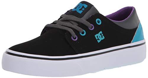DC Boys' Trase Skate Shoe, Black/Grey/Blue, 4 M US