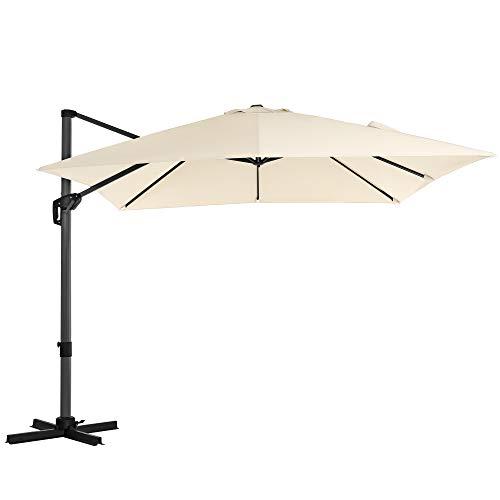 SONGMICS Sonnenschirm, Ampelschirm, 300 x 300 cm, quadratisch, Gartenschirm, UV-Schutz bis UPF 50+, um 360° drehbar, Neigungswinkel verstellbar, mit Kurbel und Ständer, beigeGPU039M01