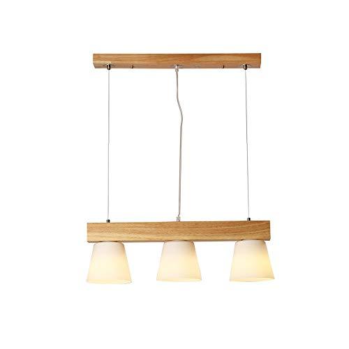 Moderne Chaud Suspension Lumière pendante Bois et blanc Verre Abat jour Lampe suspendue pour Îlot de cuisine Table de salle à manger Bar Café Étude Lustre Réglable en hauteur Éclairage L60cm 3 * E27