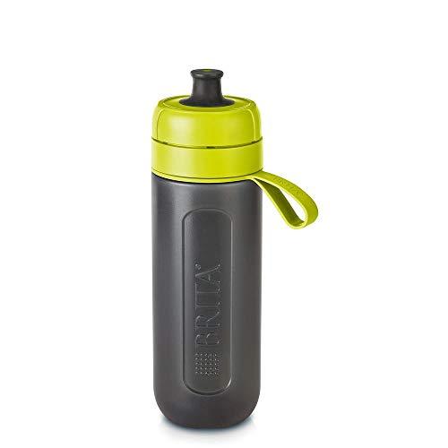 BRITA Wasserfilter-Flasche Active Lime, Robuste Sport Trinkflasche mit Wasserfilter für unterwegs aus BPA-freiem Kunststoff – Zusammendrückbar