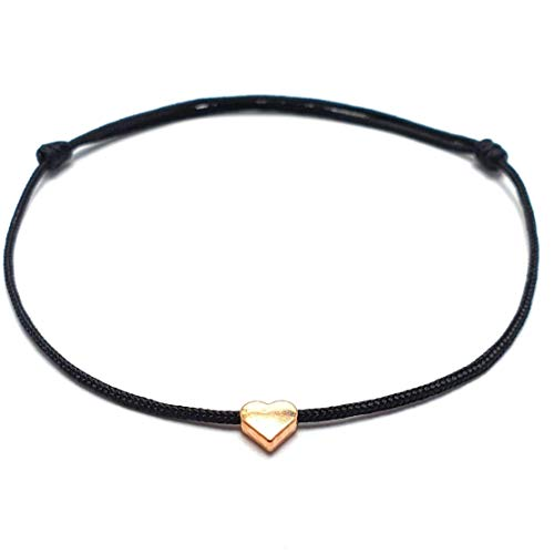 Black Anklet Bracelet Gold Colored Heart - Spain Europe Handmade - Adjustable BIG Size - the Summer Anklet - Nylon Cord - Includes Gift Organza Jewelry Bag (Black Gold, Heart)