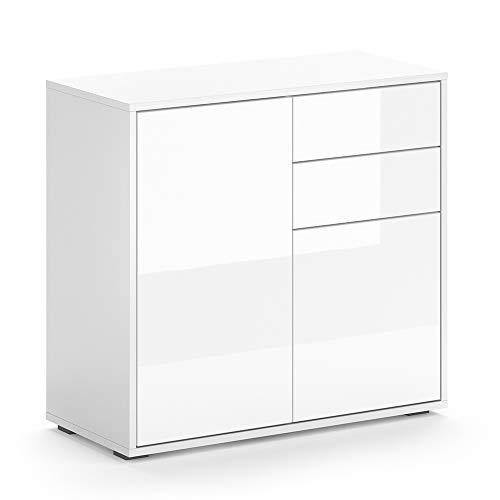 Vicco Kommode AVOLA Sideboard Mehrzweckschrank Schrank Hochglanz (Weiß, 79 cm)
