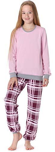 Merry Style Mädchen Jugend Schlafanzug MS10-222 (Rosa Kariert, 164)