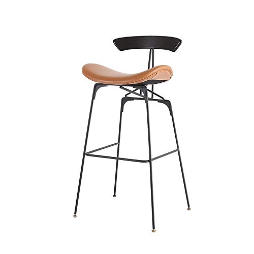 WJT-Barstool Bar Chair Wrought Iron High Stool Bar Chair Modern Minimalist High Chair Bar Chair Size: 52×47.5×80cm Weight: 150kg (Color : Brown)