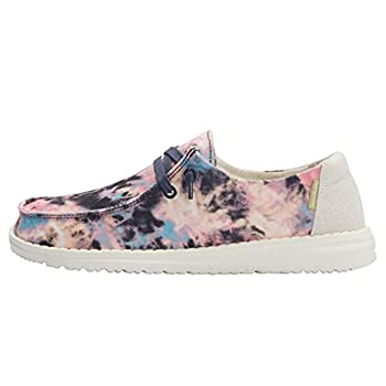 Hey Dude Women s Wendy Tie Dye Navy Pink Size 8 | Girl's Shoes | Girl's Lace Up Loafers | Comfortable & Light-Weight
