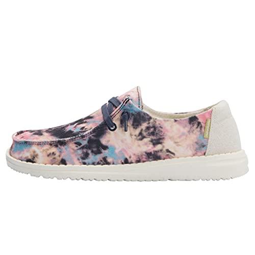 Hey Dude Women's Wendy Tie Dye Navy Pink Size 8 | Girl's Shoes | Girl's Lace Up Loafers | Comfortable & Light-Weight