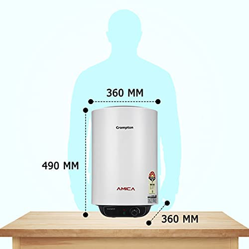 Crompton Amica 15-L 5 Star Rated Storage Water Heater with Free Installation and connection pipes (White)