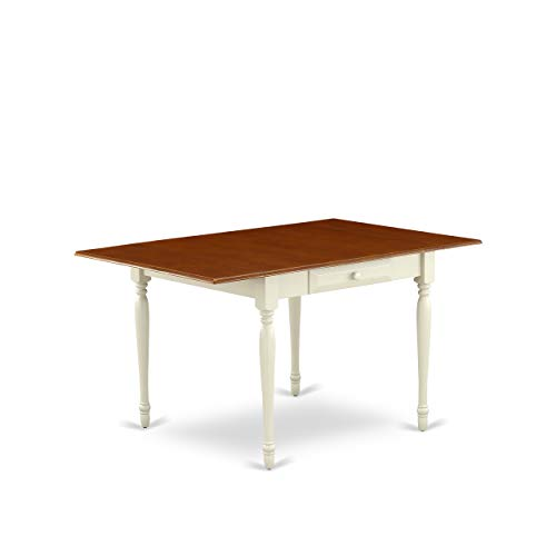East West Furniture MZT-WHI-T Monza Rectangular Table 36'X54' with 2 Drop Leaves in Buttermilk & Cherry Finish, Medium