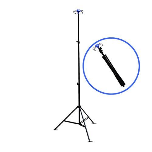 Asta per flebo in alluminio,Collassabile, portatile,regolabile 70-200 cm,per 4 ganc