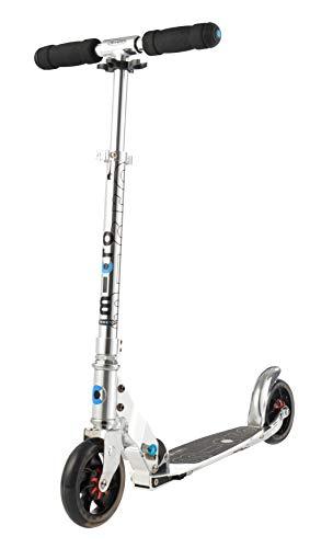Micro Mobility - Trottinette Speed+ - Élégante Citadine compacte et Anti-Vibrations - Couleur Silver - Poignées rabattables - 100% Aluminium - Ado et Adulte