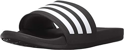 adidas Men's Adilette Comfort Slide Sandal White/Black, 12 M US