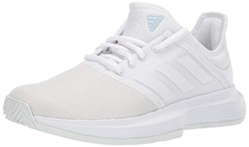 adidas Women's GameCourt Tennis Shoe, White/White/Blue Tint, 8 M US