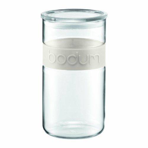 Bodum PRESSO Vorratsglas (Luftdichter Silikonverschluss, Mikrowellen/Spülmaschinengeeignet, 2,0 liters) cremefarben