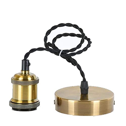 HLY Luces simples, lámpara de luz, kit colgante dorado, Hardwiree27, accesorios de iluminación modernos para colgar en el techo, portalámparas de cable de cobre