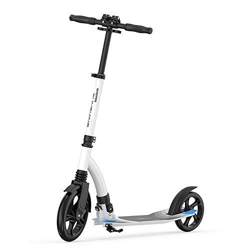 LYC Patinete para adultos y adolescentes plegable y ajustable con ruedas grandes, escuela de trabajo en carretera (color: blanco)