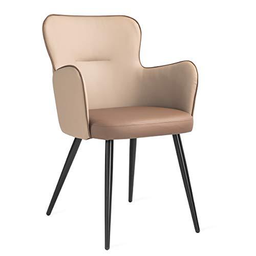 Mc Haus ELEPHANT - Sillón Relax Salón Dormitorio de color Marrón, Butaca Comedor Tapizado en tela marrón con asiento Acolchado y patas de Metal pintado en Negro 53x45x89cm