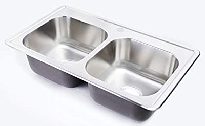 ZUHNE 33x19 Kitchen Sink Drop In for Mobile Homes, Stainless Steel Deep Double Bowl by Zuhne
