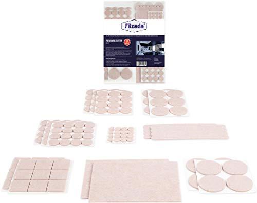 Filzada® Filzgleiter Selbstklebend Set 156 Stück (Eckig und Rund) - Beige - Profi Möbelgleiter Filz Mit Idealer Klebkraft