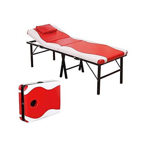WGLL Masaje de Masaje portátil y Mesa de Ejercicios Cama de Belleza en Lustre Rojo