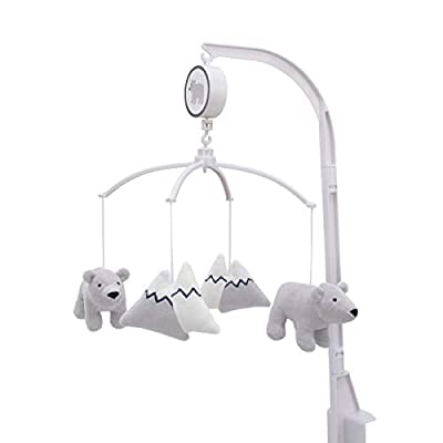 Carter's Explore Baby Bear Grey & White Musical Mobile with Bears & Snow Capped Mountains, Grey, White,
