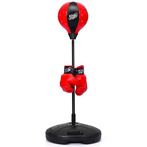 GOPLUS Punchingball, Höhenverstellbarer Standbox 81-123,5cm, Punch Boxen Set inkl. Boxhandschuhe und Handpumpe, Basis zum Befüllen mit Wasser oder Sand, Boxsack für Kinder über 3 Jahren