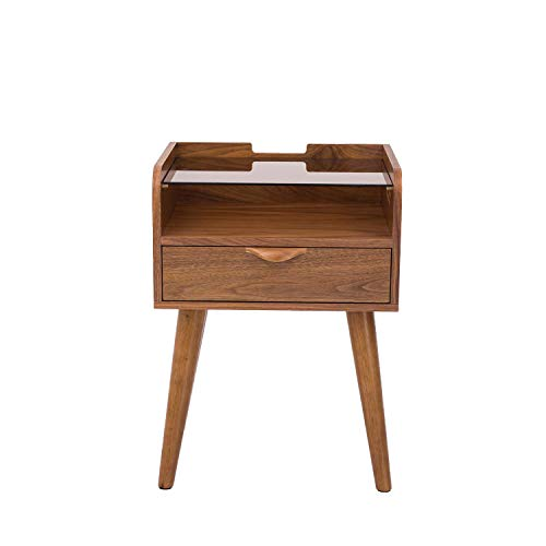 Amazon Brand - Rivet 1-Drawer End/Side Table with Shelf and Tempered Glass Top, 40 x 45 x 60cm, MDF with Walnut Veneer/Solid Beech Wood