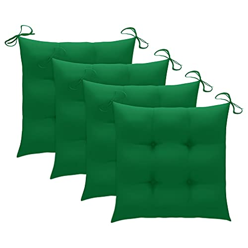 vidaXL 4X Cojines de Silla Asiento Tumbonas Patio Terraza Exterior Acolchado Almohadilla Cómoda Práctico Decoración Verde 50x50x7 cm
