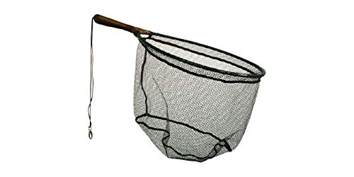 Frabill Wade Net Tear Drop Hoop with 7.5-Inch Fixed Rubber Coated Handle (Tangle Free Micro-Mesh), 19 x 25-Inch, Premium Landing Net, Black (3674)