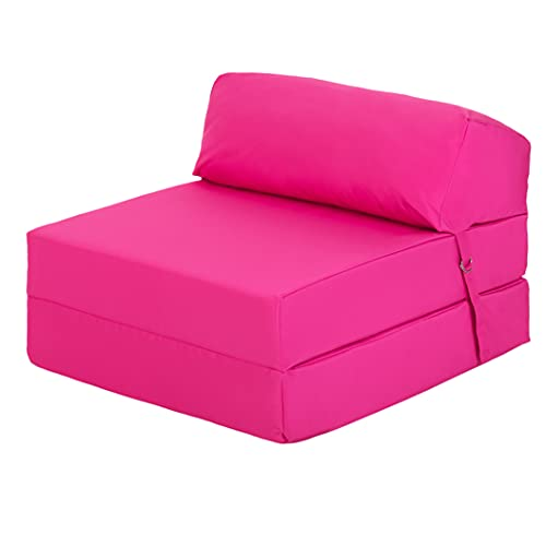 Ready Steady Bed Comfortable Fold Out Z Bed Chair   Sofa Bed Futon Lightweight   Soft Water resistant Cover   Ergonomically Designed Single Mattress Zbed (Pink)