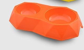 Pet Water Dispenser Diamond-Shaped Double Bowl Simple Style Pet Bowl Plastic Dog Bowl(Orange) Cat Travel Drink Bottle