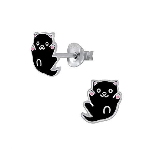 Laimons - Orecchini da bambina a forma di gatto, gattino, spina nera, 8 mm, in argento Sterling 925