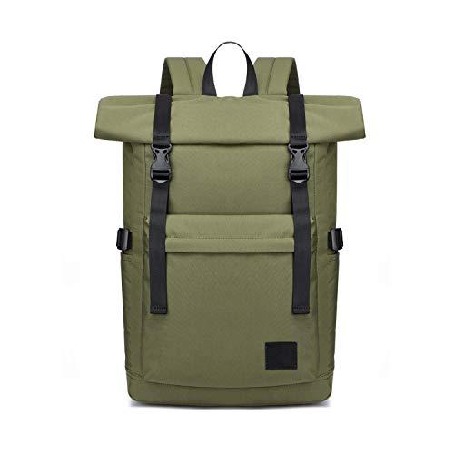 FANDARE Antirrobo Mochila Bolsas Escolares Roll-Top Backpack Adolescente Bolsa para la Escuela Mochila Multiusos para 15,6 Pulgada Laptop Hombres Mujeres Escolares Trabajo Viaje Estudios Diario Verde