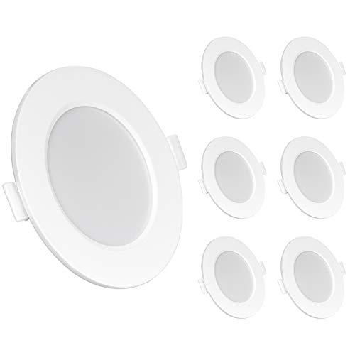 LED Einbaustrahler Dimmbar 230V Deckenspots 6W Warmweiss 6er Set IP44 LED Spots dimmbar Badleuchten LED Einbauleuchten 3000K für Wohnzimmer Badezimmer Einbautiefe 26mm [Energieklasse A+]