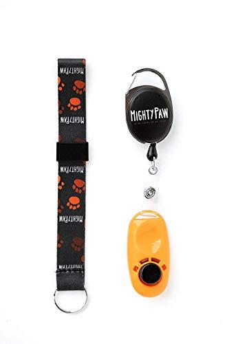 Mighty Paw Hundetraining Clicker, 2 Befestigungsmöglichkeiten, Gurtbandabroller Clip + Wrist Lanyard Orange