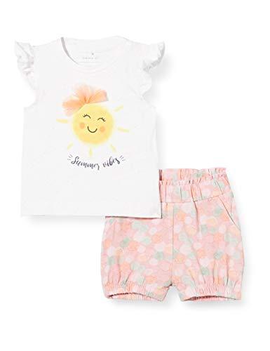 NAME IT Baby-Mädchen NBFJANE SS TOP Set Shorts, Bright White, 80