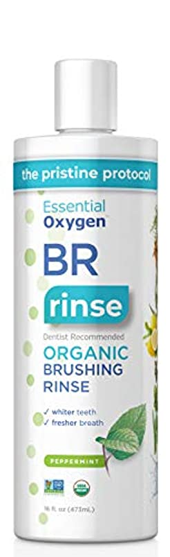 Essential Oxygen Certified BR Organic Brushing Rinse, All Natural Mouthwash for Whiter Teeth, Fresher Breath, and Happier Gums, Alcohol-Free Oral Care, Peppermint, 16 Ounce kjszzhqg767660