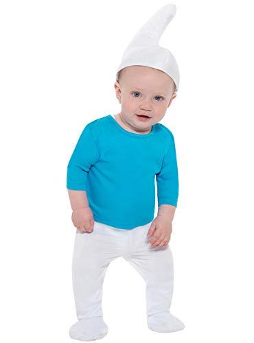 Funidelia   Disfraz de Pitufo Oficial para bebé Talla 1-2 años ▶ The Smurfs, Dibujos Animados, Enanito - Azul, Top, Pantalones con cubrebotas y Cola, Gorro.