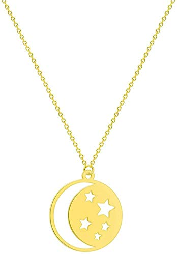 AKDLKXTS Necklace Stainless Steel Women S Necklace Crescent Moon Sunflower Infinity Wolf Lion Dove Bird Love Pendant Necklacejewelry Gift