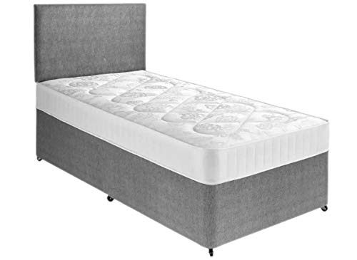 Perfect Sleep 3FT Single Grey Fabric Divan Bed Including Medium feel Quilted Mattress And Headboard
