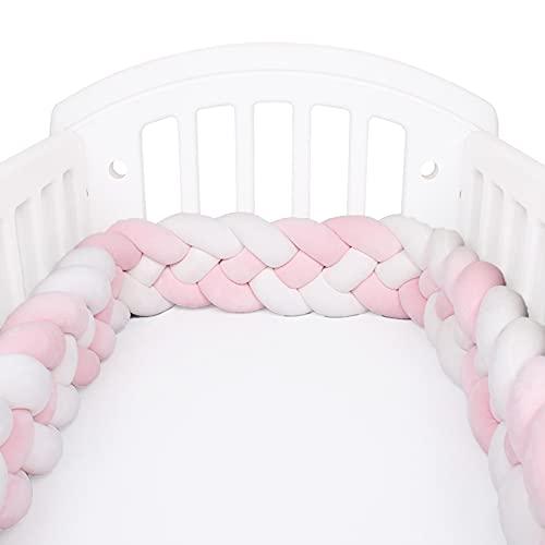 applyvt 4 Piezas Protector de Cuna chichonera, Protector Cuna bebé, Forma de Hilo Protector de Cabeza para Cuna, Protección Envolvente - 2M