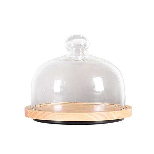 thorityau - Soporte para tartas de madera, soporte para tartas, postres y aperitivos, con tapa de cúpula de cristal, ideal para guardar tus deliciosos pasteles y alimentos.