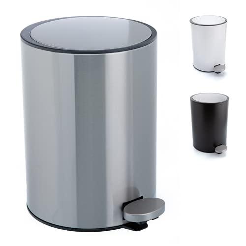 Bamodi Poubelle Salle Bain - Petite Poubelles à pédale 3L - Poubelle de WC en Acier Inoxydable - Poubelle avec Couvercle Silencieux (Gris)