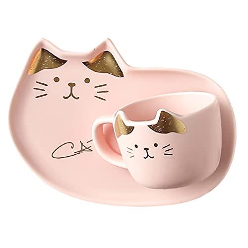 Lurrose Set de Platos de Cerámica para Gatos Tazas de Cerámica para...