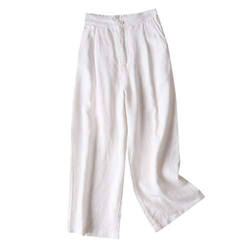 OverDose Soldes Pantalon Femme Taille Haute Grande Taille Été en Lin, Pantalons Large Pas Cher Pants Fluide Sport Trousers Fille Blanc Noir Kaki